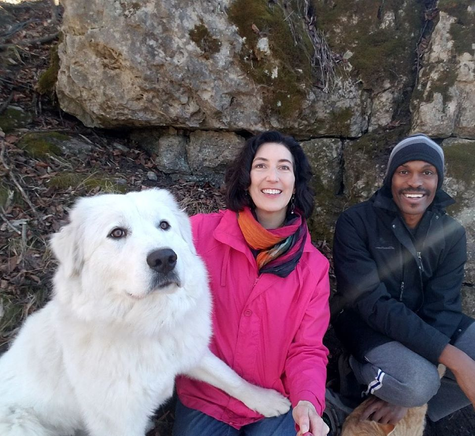 Laura Gentry, her husband, Wiliam, and their dog, Fuji