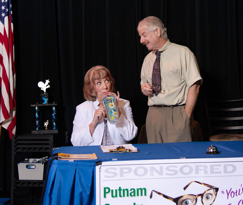 V.P. Panch admires Rona Peretti, The 25th Annual Putnam County Spelling Bee, 2018